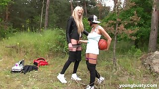 Blonde girl enjoys younger teen slut for some lesbian fun