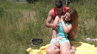Erotic outdoor fun with a beamy botheration teenager peckish for cock