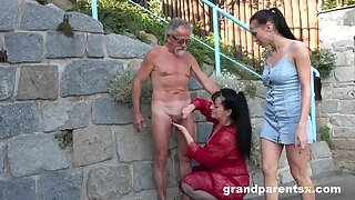 Old man roughly fucks these bitches nearby public XXX scenes
