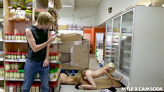 Girls realize caught having copulation in supermarket and the girls are as a result sexy
