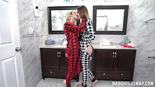 Insolent chicks are sharing their first morning foursome fuck