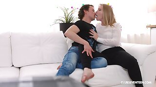 Perfect blonde with nice ass, insane couch sex at one's disposal home