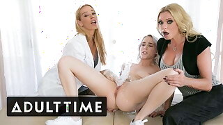 Virgin Squirts Lead to Blonde Threesome - Of age TIME
