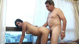 Old grandpa shafting younger brunette wife with perky tits