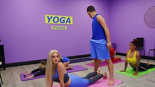Blonde with natural pair seduces yoga instructor during naming